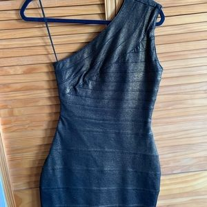 One shoulder black/bronze Express dress XS